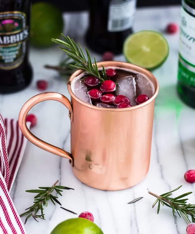 a holiday moscow mule recipe served in a copper mug. Black Bedroom Furniture Sets. Home Design Ideas