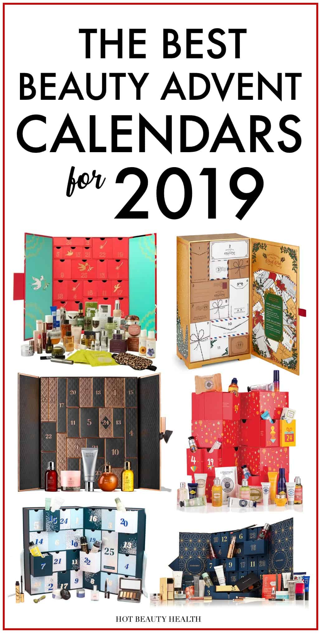 Looking for Christmas gift ideas for her? Check out this huge list of the best beauty advent calendars for the 2019 holiday season! Makeup and skincare addicts rejoice! #hotbeautyhealth #bestbeautyadventcalendars #beautyadventcalendar #giftguide #christmasgiftideas #giftideas #giftideasforher #holidaygifts #makeup #skincare #christmas #beautygifts