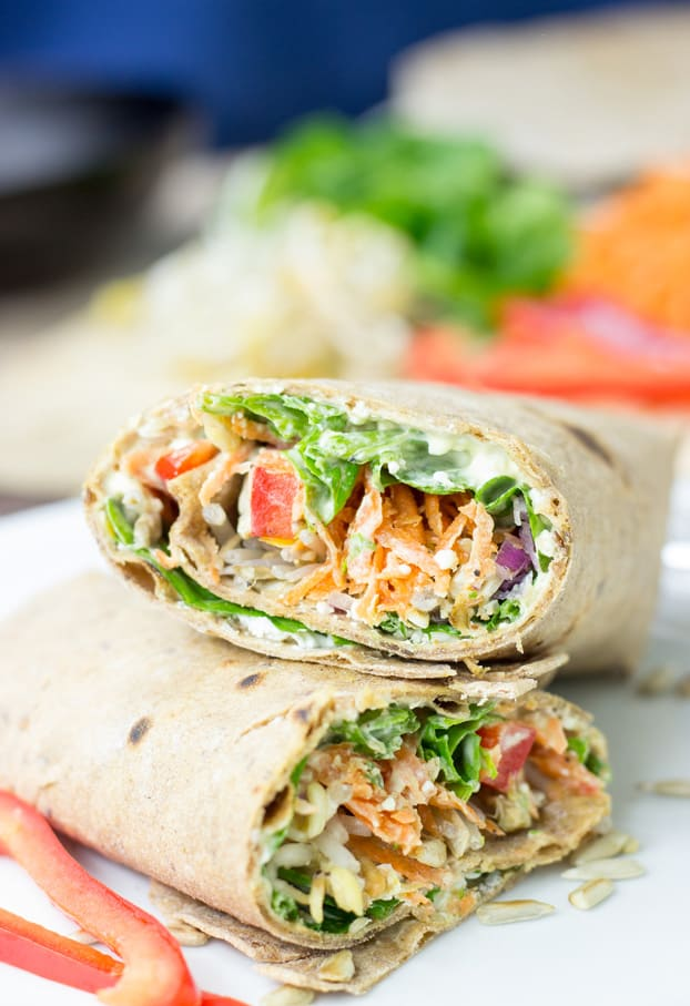 These 15 Vegetarian Recipes Are So Satisfying You'll Want to Go Meatless for an Entire Month! Now I have some healthy veggie recipes to try for breakfast, lunch, and dinner like this Tangy Veggie Wrap!