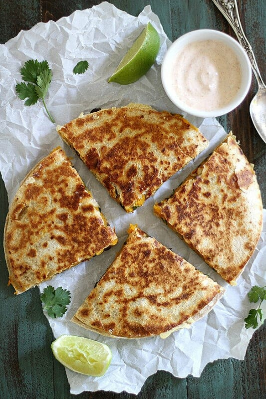 These 15 Vegetarian Recipes Are So Satisfying You'll Want to Go Meatless for an Entire Month! Now I have some healthy veggie recipes to try for breakfast, lunch, and dinner like this Black Bean Butternut Squash Quesadilla!